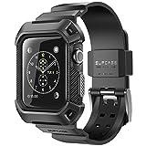 SUPCASE Apple Watch 42mm ケース バンド 一体 落下衝撃 吸収 装着簡単 Apple Watch Series 3/2/1対応 黒