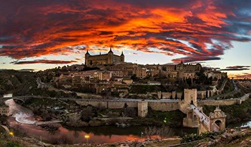 OKOUNOKO Puzzles De 1000 Piezas para Adultos Toledo España Montaje De Madera Decoración para El Juego De Juguetes para El Hogar Explora La Creatividad Y La Resolución De Problemas