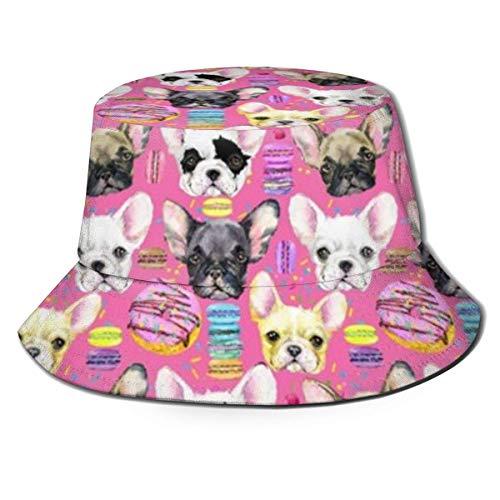 Bulldog francés Cachorro Acuarela Plegable Plegable Pescador Sombrero, Mujeres Hombres Verano Hawaii Moda Sol protección UV Boonie Sombreros Gorra de Camionero para Viajes Pesca al Aire Libre
