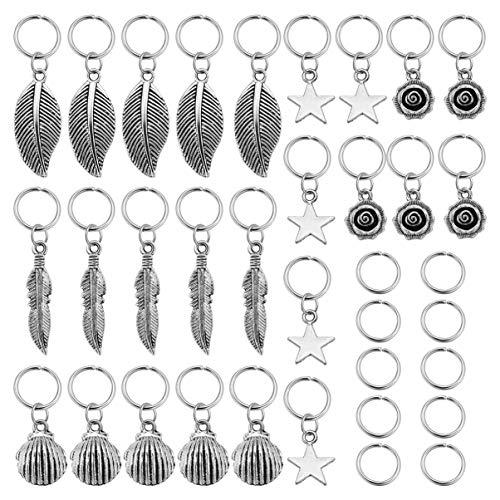 Lurrose 35 Stücke Haarzopf Ringe Metall Dreadlocks Haar Perlen Dekoration Flechten Haarschmuck für Frauen Männer (Silber)