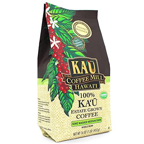 Semi Washed Medium Dark Whole Bean Ka'u Coffee (16 Ounce), 100% Hawaiian Award Winning Coffee by Ka`u Coffee Mill