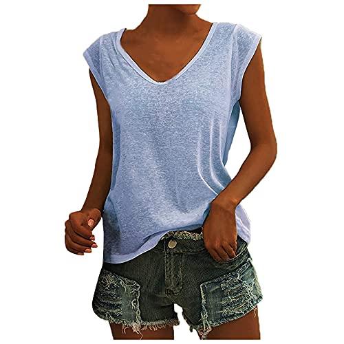 MOKBAY Damen V-Ausschnitt T-Shirt Lässige Flügelärmel Weste Solid Loose Bluse Fit Tank Tops,Casual Shirt Hemd Bluse Female Teenager Mädchen Tshirt Loose Oversize Shirt Oberteile
