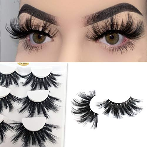Mikiwi 25mm Lashes, Dramatic 6D Faux Mink Lashes, Fluffy Volume Eyelashes, Thick Crossed Lashes, Long Faux 25mm Mink Lashes (6D4-05) 2