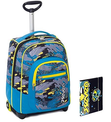 Trolley Bambino Seven + Cartellina A4 - Azzurro Giallo Camouflage - Spallacci a Scomparsa! Zaino 35 LT Scuola e Viaggio - Idea Regalo Natale