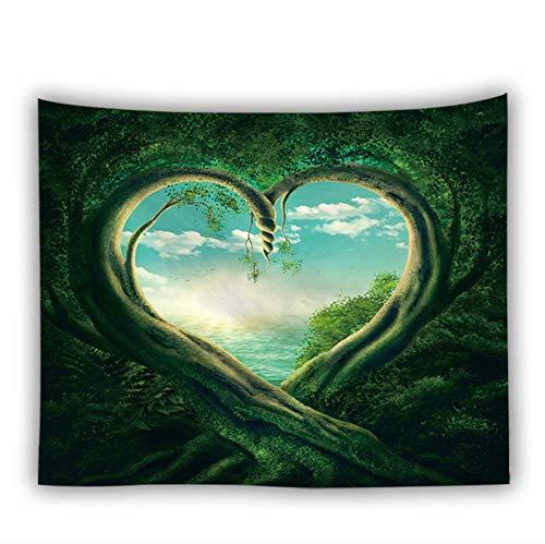 N/ Tapiz de árbol de Amor Alfombra de Pared Naturaleza Arte Bosque Paisaje Hippie Manta para Colgar en la Pared Hermosa casa de Hongos Boho Decoración para el hogar-D_150cmx130cm