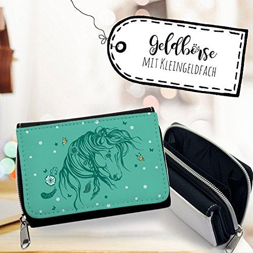 ilka parey wandtattoo-welt® Geldbörse Pferd Portemonnaie Portmonee Wildpferd mit Schmetterlingen gk100