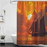 lovedomi Key West Florida Sunset Tropical Sunset Boat Sailing Decoración de baño Cortina de ducha de tela de poliéster impermeable 72 x 72 pulgadas Set de accesorios de baño