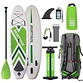 "Murtisol Pro 10.5'33""6"" Inflatable Paddle Board Stand Up Paddle Board with Premium Accessories Dual Chamber Triple Action Pump 10L Waterproof Bag Adjustable Paddle Ankle Leash Multifunction Bag 13 【STANDARD ONE FOR BEGINNERS】Weight Capacity: 280 Lbs. This 33 inches width paddle board is enough to play on the still water, suitable for all kinds of activities such as family trip, fishing, cruising, fitness, and so on. The 3 bottom fins makes the board more stable when playing so it is perfect for people who are beginners of the water sports. 【GOOD QUALITY】Featured thickened military grade PVC on the top and bottom: creates a stiff, rigid and sturdy board. Also decrease the water resistance. Durable enough to last for years. 【ALL AROUND BOARD】: This sup is suitable for Yoga on water, Fishing, carrying kids and pets together or just touring. This is good for all you have!"