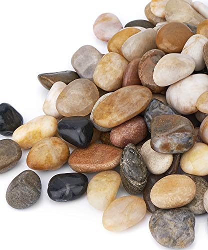GASPRO 15 Pound River Rocks, Decorative Pebbles for Plants, Garden, Landscaping, Succulent, Vase, Highly Polished, 1/2-3/4 Inch