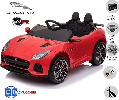 BC BABY COCHES Jaguar F-Type SVR Coche eléctrico para niños con batería 12v, Mando Control Remoto teledirigido para Padres, Licencia Oficial, asa de Transporte y Maletero. (Rojo)