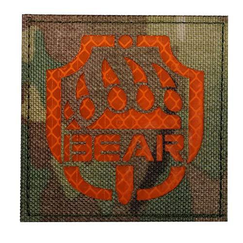 Parche reflectante para escapar de Tarkov con huella de oso de Rusia, parche infrarrojo táctico militar moral emblema insignia