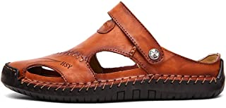 AopnHQ Round Toe Soft Beach Slippers- Mens Loafers Shoes,Men's Rivet Sandals