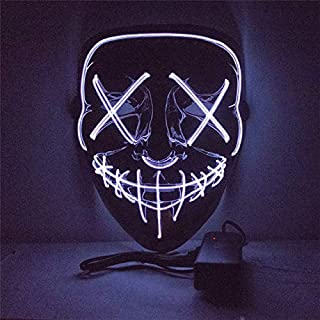 PKRISD Halloween Mask Purge Masks Election Mascara Costume DJ Party Light Up Masks Glow in Dark 10 Colors to Choose