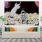 Leowefowa Cute Cartoon Space Tapestry Sad Astronaut Alien With Broken Aircraft Tapestry Wall Hanging Home Decoration Mural Wall Blanket Living Room Bedroom Dorm Decor 59.1x39.4inch