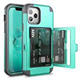 WeLoveCase for iPhone 12/ for iPhone 12 Pro Wallet Case with Credit Card Holder & Hidden Mirror, Defender Three Layer Shockproof Heavy Duty Cover for iPhone 12/ for 12 Pro 2020, 6.1 inch 5G Mint
