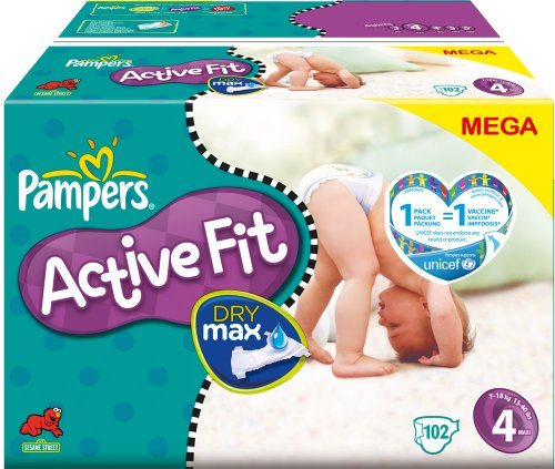 PAMPERS Pañales Active Fit Talla 4 maxi 7 – 18 kg Mega Pack, 102 unidades)
