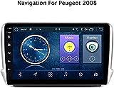 GPS Auto Navigation, Autoradio für Peugeot 2008208 2015-2018 9-Zoll-Android 8.1-HD-Touchscreen GPS-Navigationseinheit Home Multimedia-Player, Lenkrad-Steuerung,2 + 32g,208 Kabel