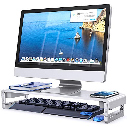 Adjustable Monitor Stand Riser, 3 Height Adjustable Monitor Stand for Laptop, Computer, iMac, Pc, Printer, Desktop Ergonomic Aluminum Monitor Riser Stand, EURPMASK