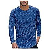 Camiseta de manga larga para hombre con cuello redondo y cuello redondo, camiseta de manga larga, azul, XL