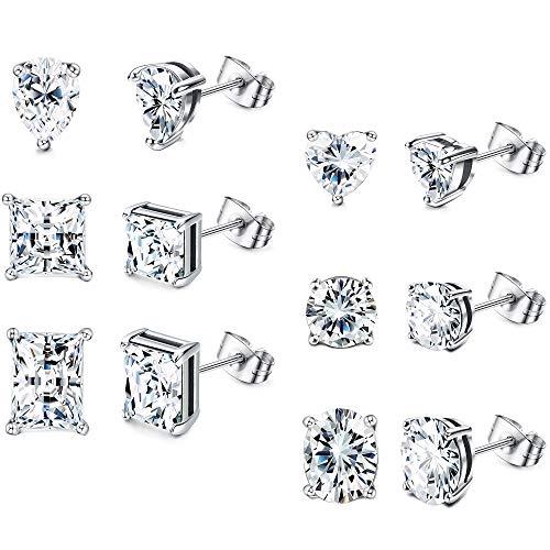 Adramata 6 pares de pendientes de acero inoxidable con circonita cúbica para pendientes de mujer y hombre, corazón, redondos, cuadrados, plateados