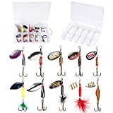 PLUSINNO Fishing Lures for Bass Spinner Lures with Portable Carry Bag,Bass Lures Trout Lur...