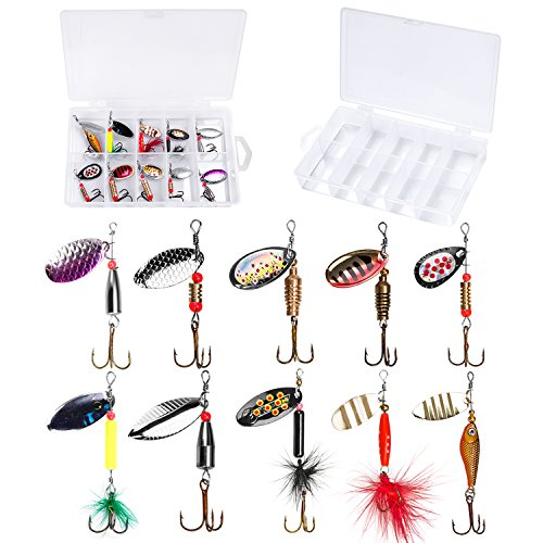PLUSINNO Fishing Lures for Bass Spinner Lures with Portable Carry Bag,Bass Lures Trout Lures Hard Metal Spinner Baits?Kit (10pcs Spinner Set with Box)