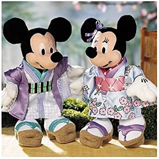 """Disney 7"""" Plush Japanese World Traveling Mickey and Minnie Mouse Bean Bag Dolls Dressed in Traditional Japanese Garb"""