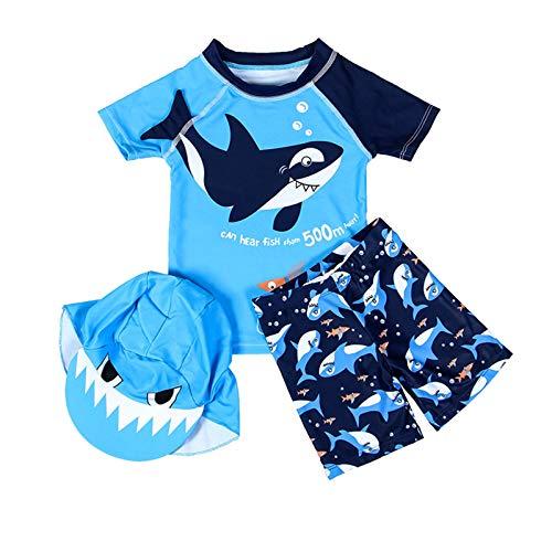 HUBA Traje de baño para niño, 3 piezas, dibujos animados, dinosaurios, tiburón, traje de baño con sombrero, protección solar, traje de baño para verano (2-7 años), azul, 3-4 Años