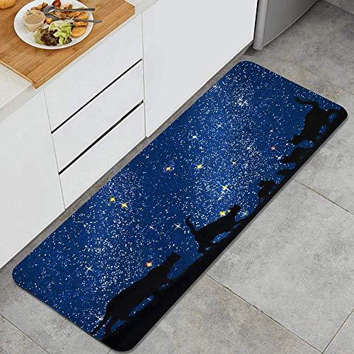 ZORMIEY Alfombras Cocina Lavable Antideslizante Alfombrilla de Goma Alfombra de Baño Alfombrillas Cocina,Gatos nocturnos del Grupo bajo Las Estrellas,45x120 cm