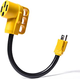 Snowy Fox RV 15Amp to 50Amp Adapter - 15Male/50Female Camper RV Electrical Adapter Power Cord with Innovative 180 Degree Bend Design Easy Ergonomic Grip Handle,18inches,10AWG 125V/1875W