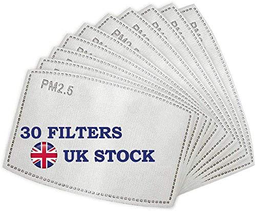 N&D Filters PM2.5 Aktivkohlefilter, 30 Stück, 5 Lagen, Ersatzfilter für waschbare Gesichtsabdeckung, Anti-Dunstfilter, austauschbarer Mundschutz, Filter für Outdoor, Radfahren