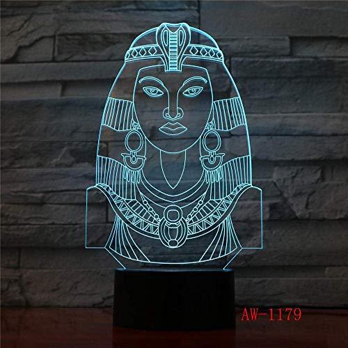 3D Slide LED Night Light Egipcio Esfinge Faraón Princesa Bombilla Multicolor Creativo 7 Cambio de color USB Lámpara de mesa Regalo para niños