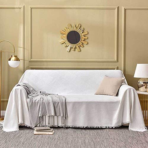 YSODFQL Funda de sofá multifuncional de estilo nórdico, funda de algodón tejida, funda completa, funda de sofá, funda de sofá, cubierta antipolvo completa Funda de sofá/Creamy/w