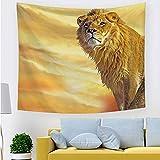 Tapiz de león dorado para colgar en la pared, tapiz de animales...