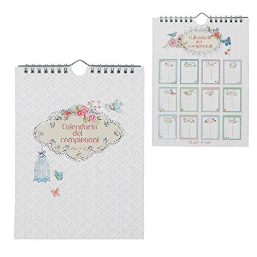 Clayre & Eef 6PA0413I - Calendario di Compleanno, 17 x 22 cm
