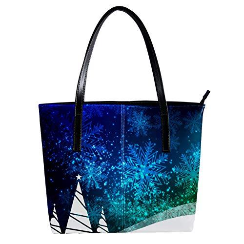 LORVIES Abstraktes schönes blaues fröhliches Weihnachtsfest Umhängetasche aus PU-Leder und Handtaschen für Damen