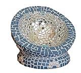 Mosaik Windlicht Halbkugel blau mit weißen Blumen - handgemacht - Einzelstück