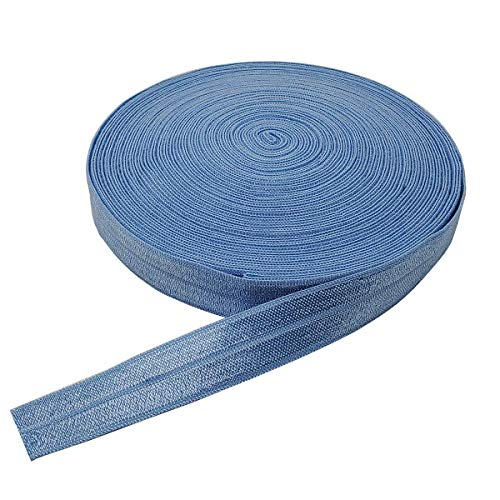 10 Yards Fold Over Elastic Stretch, Braided Elastic Ribbon for Hair Ties Headbands, Available in Various of Colours (Blue, 5/8in)