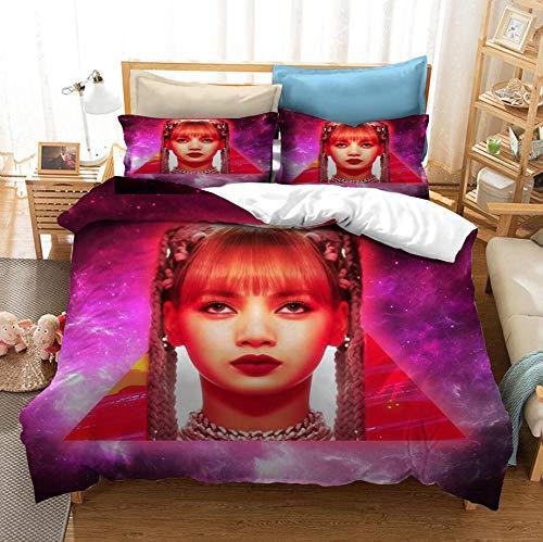 BlackPink3D juego de cama con funda nórdica, mujeres coreanas cantando combinación cama individual cama doble funda nórdica suave y cómoda ropa de cama textiles para el hogar-E_135x200cm (2pcs)