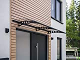 Schulte Vordach Haustür Überdachung 200x90 cm Stahl anthrazit rostfrei Polycarbonat durchgehend...