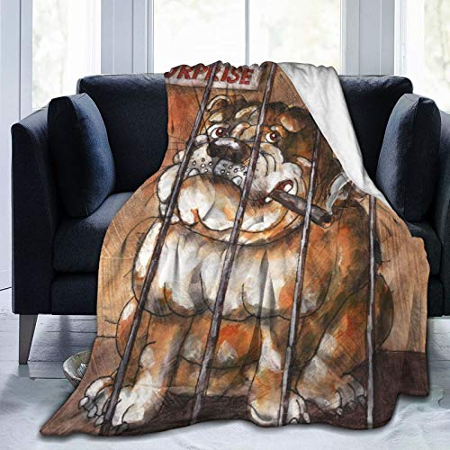 Personalized Custom Throw Blanket,Huge English Bulldog Smoking A Cigar In A Cage Behind A Sign Saying Surprise Art Watercolor,Comfortable Plush Blanket for Sofa Bedroom Travel Fluffy Blanket 50'X60'