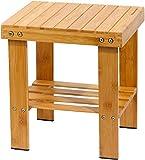 Yoassi - Taburete bajo de bambú natural con estante de...
