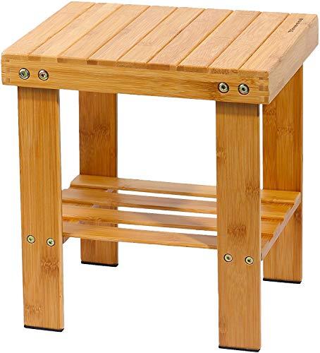 Yoassi - Taburete bajo de bambu natural con estante de almacenamiento para ninos y adultos
