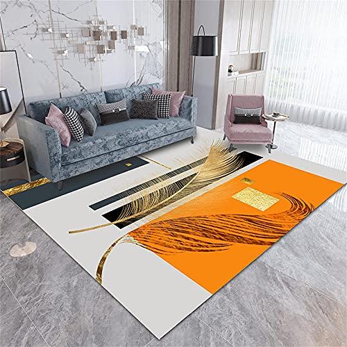 alfombras de Pasillo,Alfombra Naranja, patrón de Plumas Almohadilla de rastreo té Varias decoración de la casa Silla de Oficina Mat Alfombra ,alfombras Lavables -Naranja_200x280cm