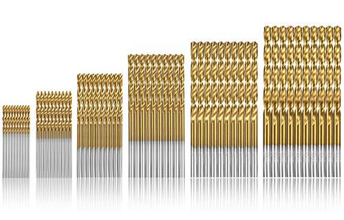60 Stück HSS Micro Bohrer Set Qibaok Titanbeschichtung Spiralbohrer Metallbohrer Handspiralbohrer Bohrersets Werkzeuge 1/1,5/2/ 2,5/3/ 3,5 mm