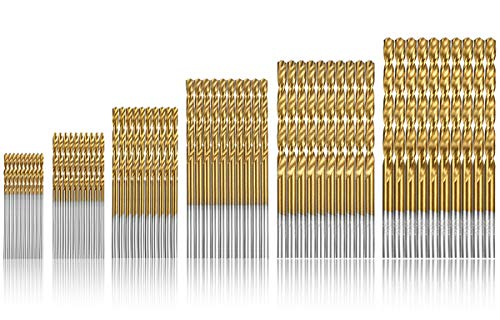 Qibaok 60 Pcs Brocas helicoidales, HSS Taladro de titanio Brocas de taladro Micro Brocas HSS Taladro de acero de alta velocidad 1/1.5/2 / 2.5/3 / 3.5mm Set Micro Drill Set Tools