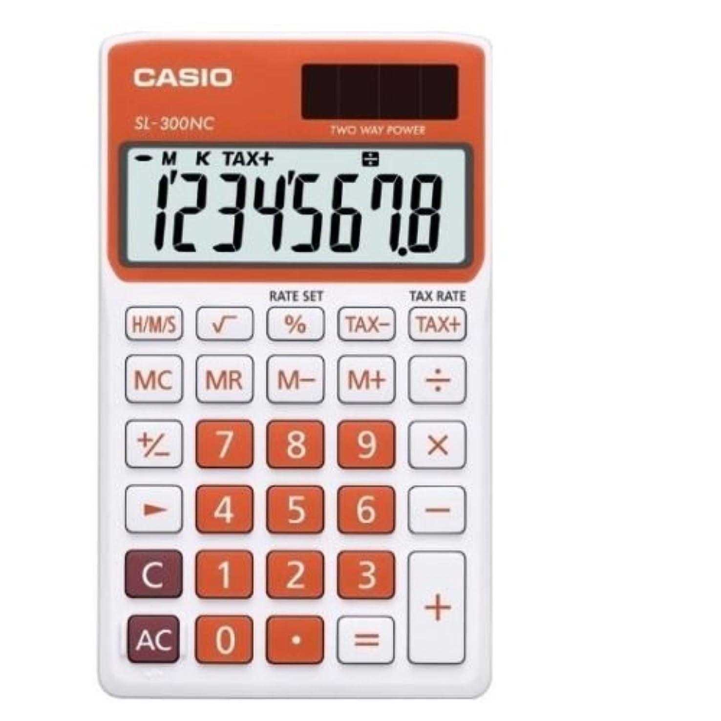 クレアスリルリマCasio SL-300NC-RG 基本電卓大型ディスプレイ税 SL300NC ブラック/オレンジ [並行輸入品]