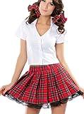 spass42 dreiteilig Schulmädchen Kostüm School Girl Schul Uniform Kleid Mini Rock + Bluse +...