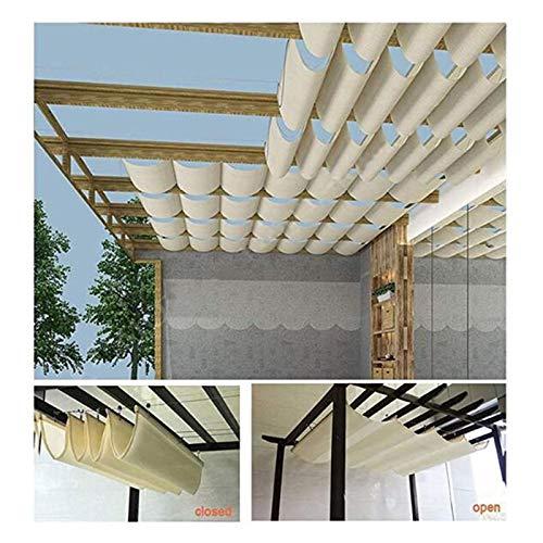 LH-RUG Pergola - Toldo de sombra de la canopea retráctil Shade Wave Pergola - Protección UV para techo de techo (color: beige, tamaño: 1 x 3 m)