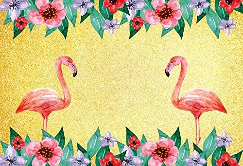 Flamingo Birthday Party Tropical Palms Tree Beach Poster Baby Kid Photo Backdrop Photography Background Photo Studio A2 2.1x1.5m